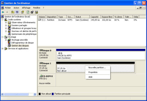 Gestion disques durs windows