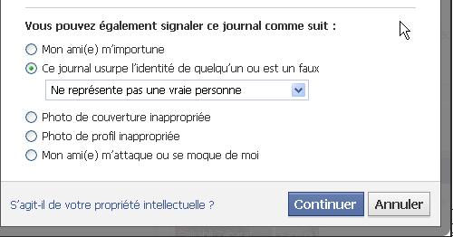 Un profils facebook pas réel