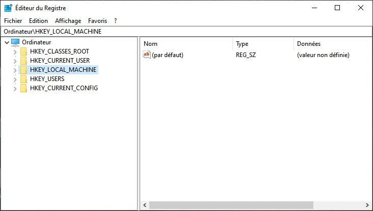 Éditeur du registre Windows