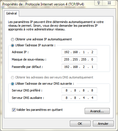 Comment configurer une adresse ip fixe sous windows 7