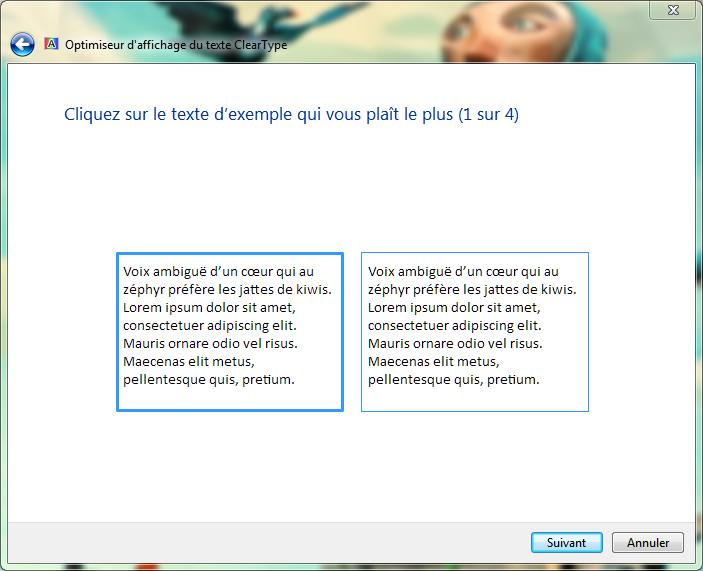 sélectionner le texte d'exemple cleartype