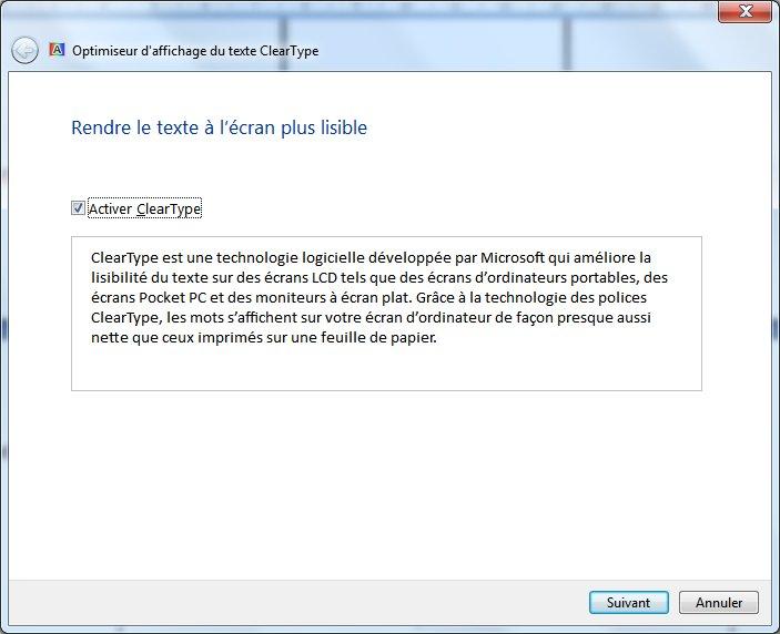 """Comment activer la fonction """"cleartype"""" dans Windows 7"""