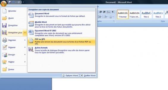 Comment créer fichiers PDF aide Microsoft Office
