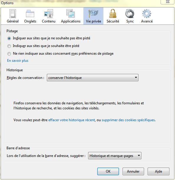 Paramètres confidentialité Firefox