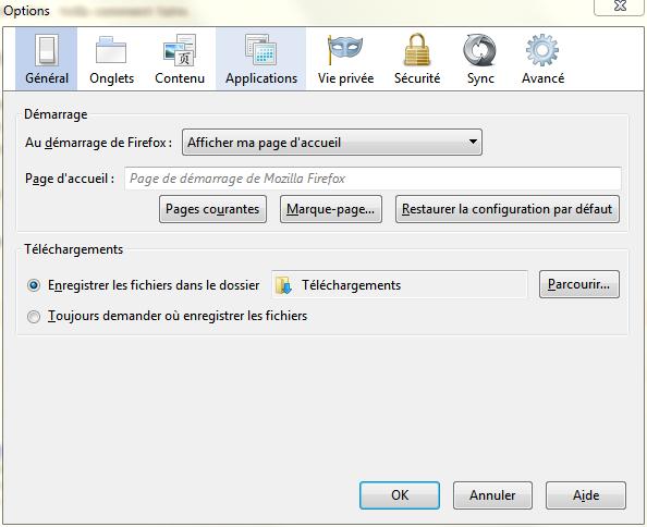 Configurer, Changer page d'accueil firefox