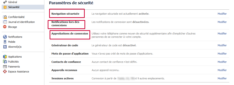 parametre securite facebook