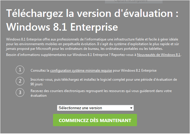 Téléchargez Windows 8.1 Enterprise version d'évaluation