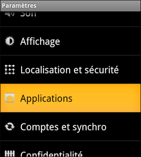 Paramètres applications android