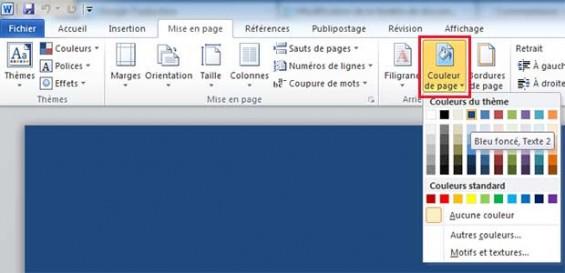 Modifier la couleur de fond d 39 une page word 2010 for Fenetre word 2013