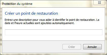 Créer un point de restauration