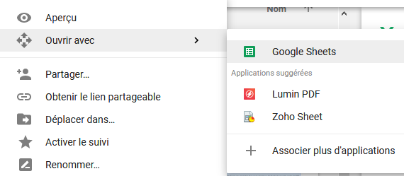 ouvrir excel google drive