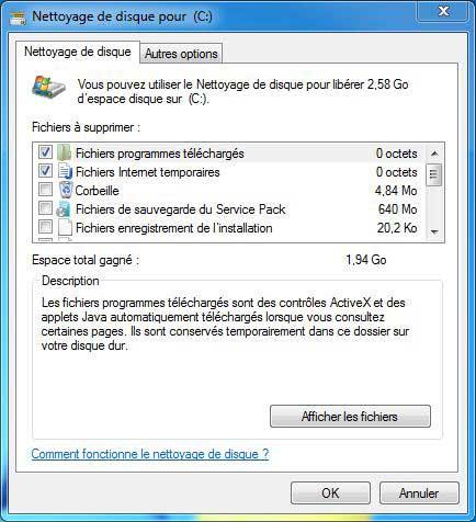 Sélection de fichiers à supprimés