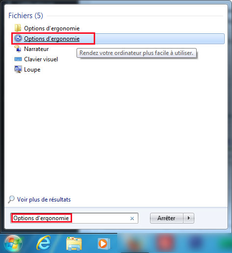 Options d'ergonomie windows 7