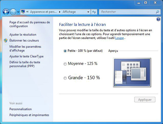 Augmenter la taille du texte windows 7