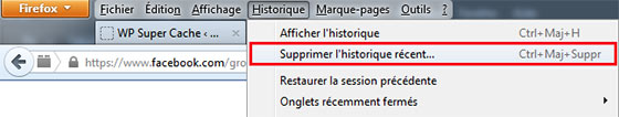 Menu Historique Firefox