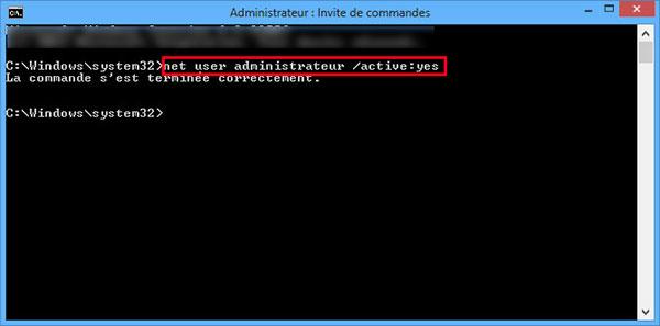 Activer compte administrateur Windows 8