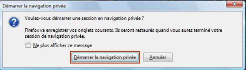démarrer la navigation privée