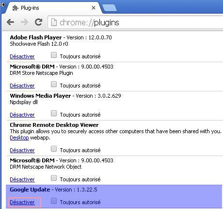 désactiver les mises a jour automatique google chrome