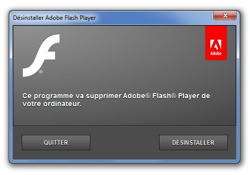 utilitaire de désinstallation d'Adobe Flash Player