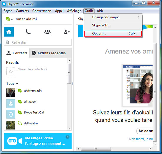 Options skype