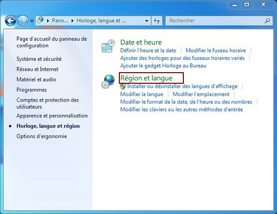 langue et région windows 7