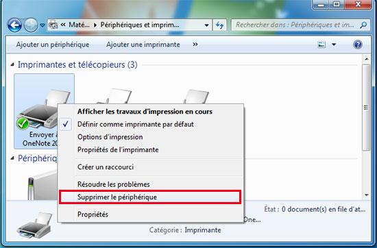 supprimer imprimante windows7