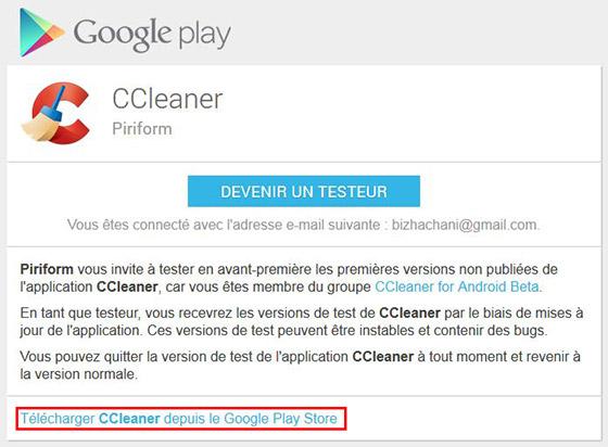 Télécharger CCleaner depuis le Google Play Store