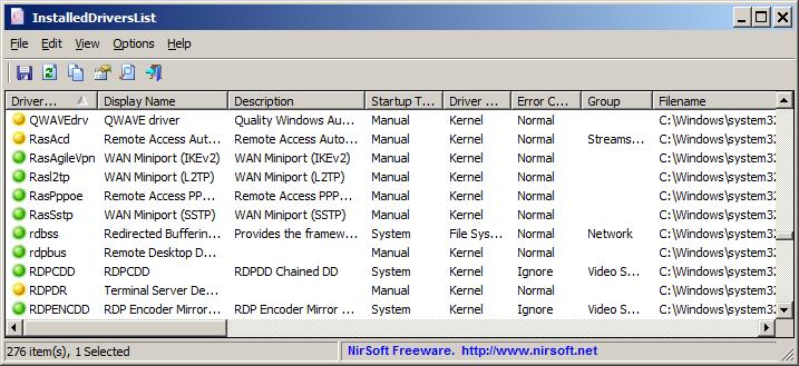 liste de tous les pilotes Windows installés