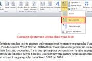 Comment ajouter une lettrine dans word 2010