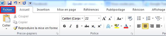Menu fichier Word 2010