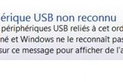 Résoudre problème périphérique USB non reconnu dans Windows
