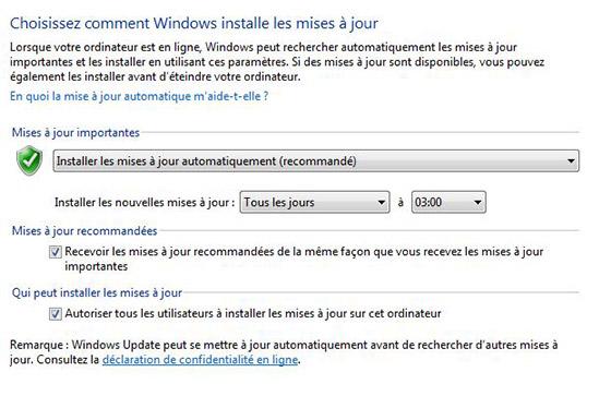 paramètres de Windows Update