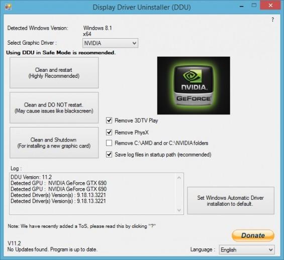 supprimer complètement les pilotes des cartes graphiques NVIDIA et AMD