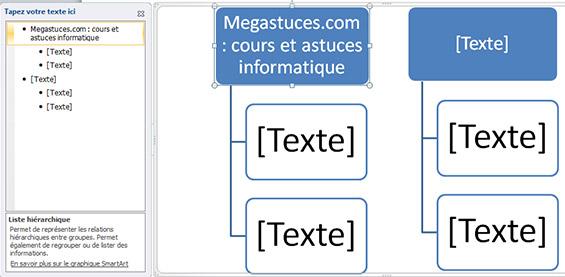 ecrire du texte dans le smartart