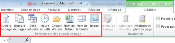 element en-tete excel