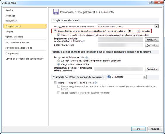 Enregistrer les informations de récupération automatique