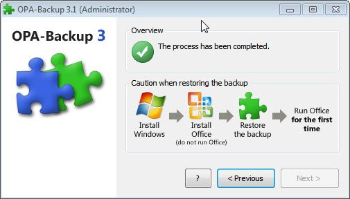 OPA-Backup restaurer l'activation office