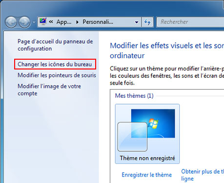 Activer d sactiver ic nes de bureau windows 7 for Windows 7 bureau vide
