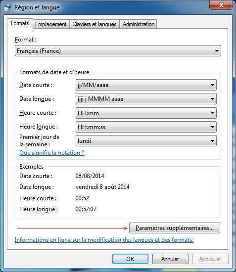 Paramètres supplémentaires langue region windows 7