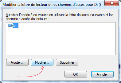 Sélectionnez Modifier la lettre de lecteur