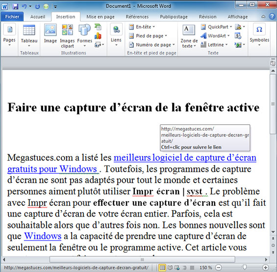 exemple liens hypertexte dans un document word 2010