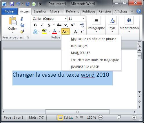 Modifier la casse du texte dans word for Dans word