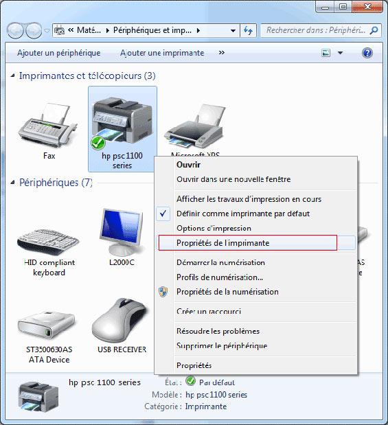 Procedure pour imprimer une page de test