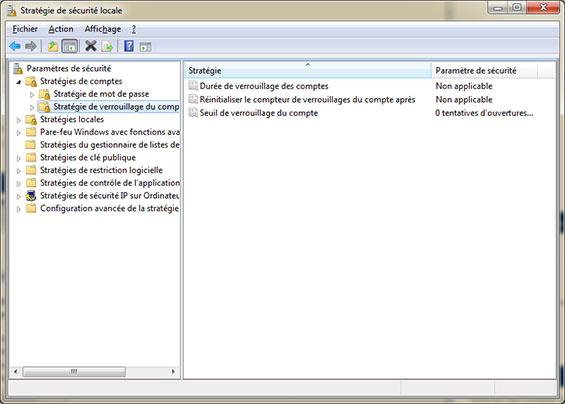 Stratégie de verrouillage du compte windows