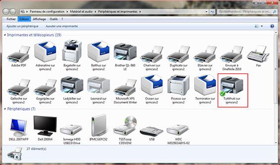 imprimante par défaut windows 7