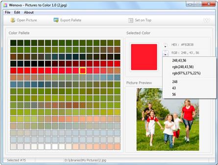 palette de couleur d'une image