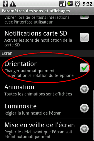 orientation automatique android