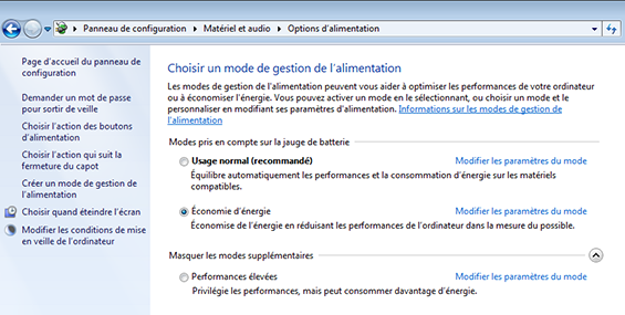 gestion de l'alimentation windows 7
