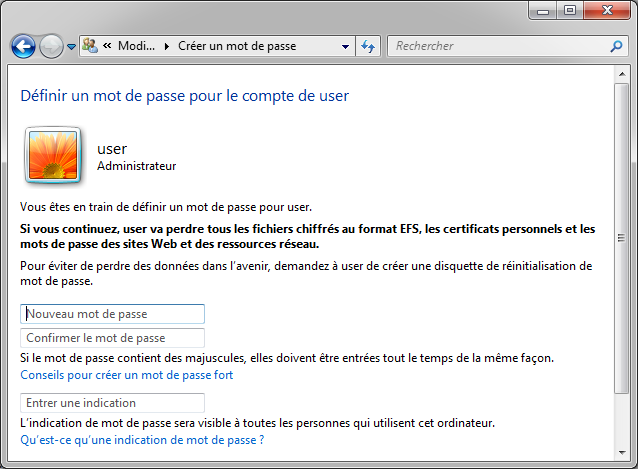 mot de passe admin windows 7