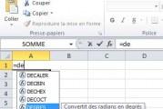 Excel: convertir des radians en degrés